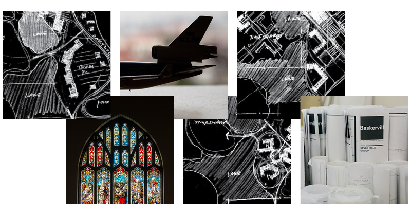 Architectural sketches, a model airplane, and stained glass window