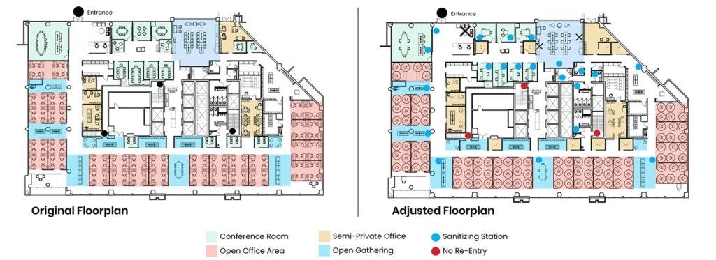 Original and adjusted floorplan