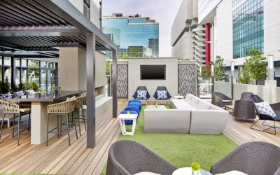 Hotel rooftop amenity space