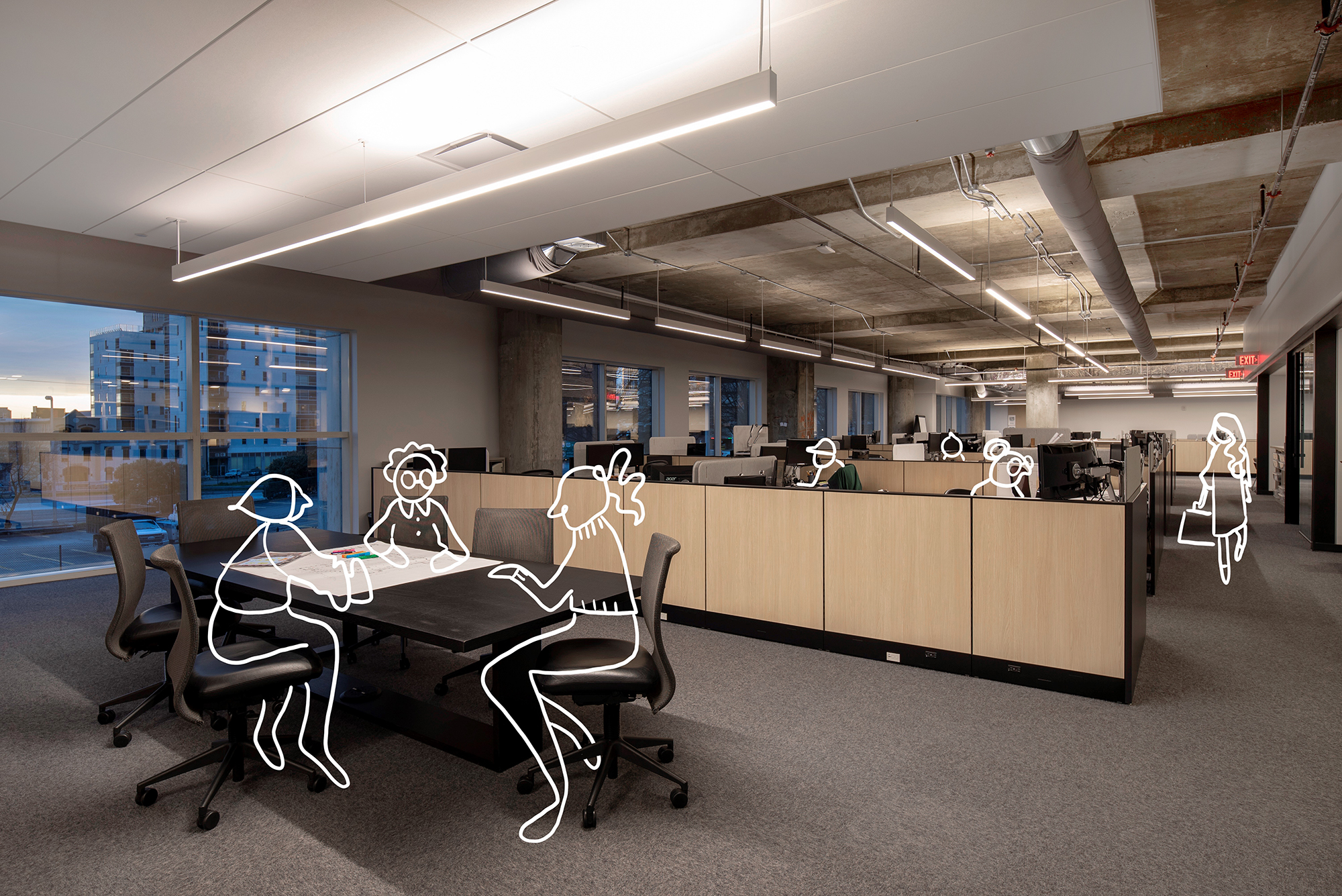Workplace trends and strategies line drawings